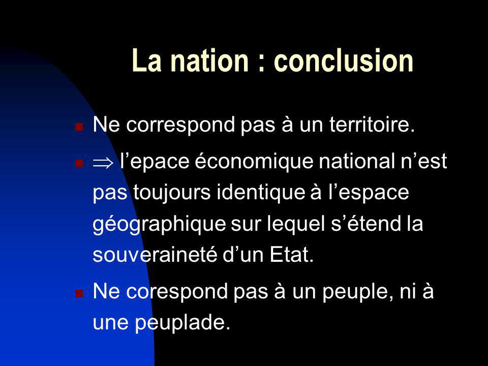 La nation : conclusion Ne correspond pas à un territoire. lepace économique national nest pas toujours identique à lespace géographique sur lequel sét