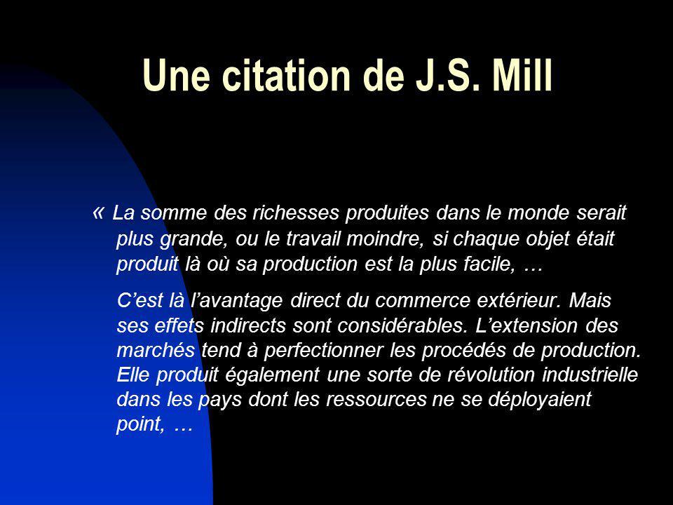 Une citation de J.S. Mill « La somme des richesses produites dans le monde serait plus grande, ou le travail moindre, si chaque objet était produit là