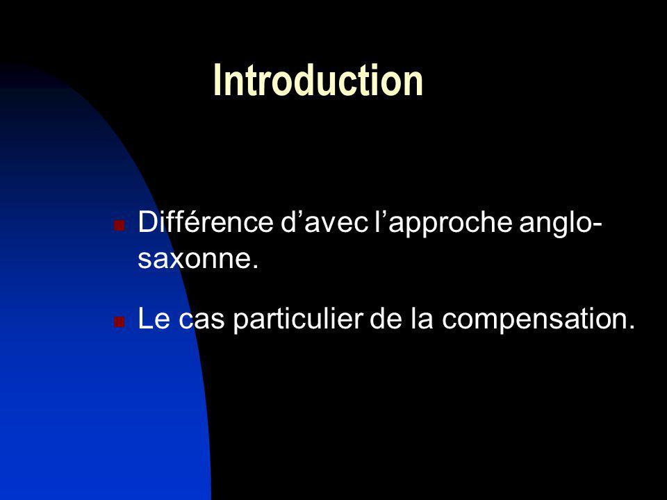 Introduction Différence davec lapproche anglo- saxonne. Le cas particulier de la compensation.
