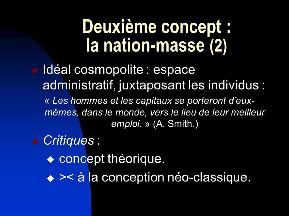Deuxième concept : la nation-masse (2) Idéal cosmopolite : espace administratif, juxtaposant les individus : « Les hommes et les capitaux se porteront