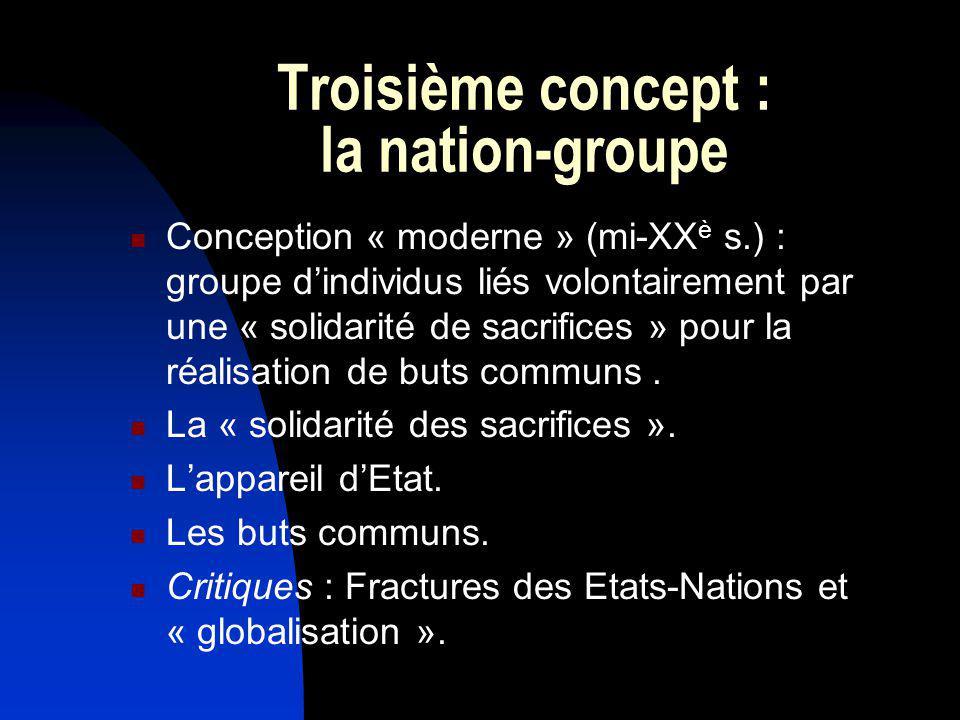 Troisième concept : la nation-groupe Conception « moderne » (mi-XX è s.) : groupe dindividus liés volontairement par une « solidarité de sacrifices »