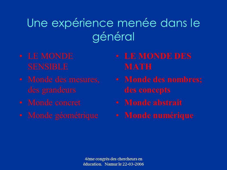 4ème congrès des chercheurs en éducation. Namur le 22-03-2006 Une expérience menée dans le général LE MONDE SENSIBLE Monde des mesures, des grandeurs