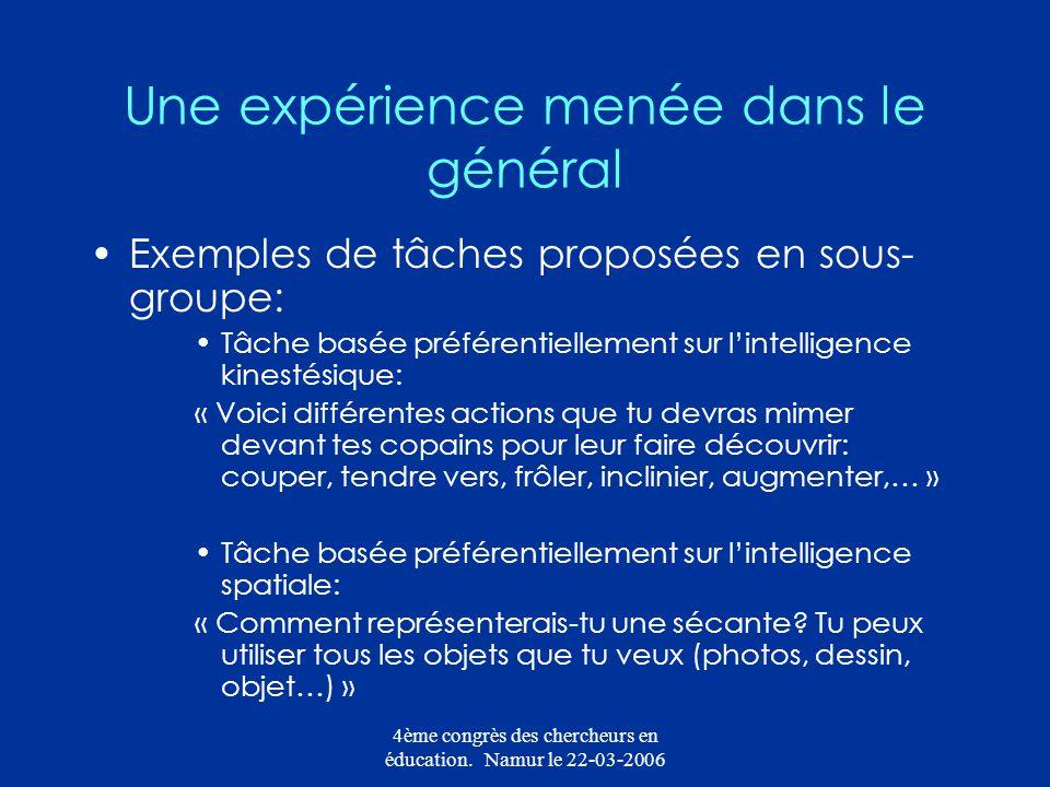 4ème congrès des chercheurs en éducation. Namur le 22-03-2006 Une expérience menée dans le général Exemples de tâches proposées en sous- groupe: Tâche