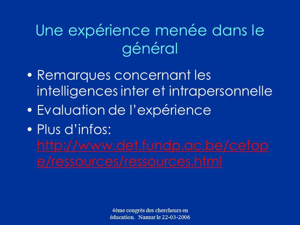 4ème congrès des chercheurs en éducation. Namur le 22-03-2006 Une expérience menée dans le général Remarques concernant les intelligences inter et int