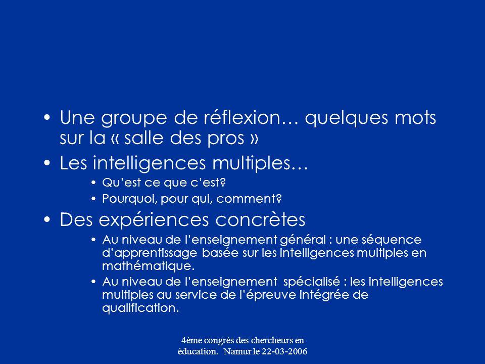 4ème congrès des chercheurs en éducation. Namur le 22-03-2006 Une groupe de réflexion… quelques mots sur la « salle des pros » Les intelligences multi