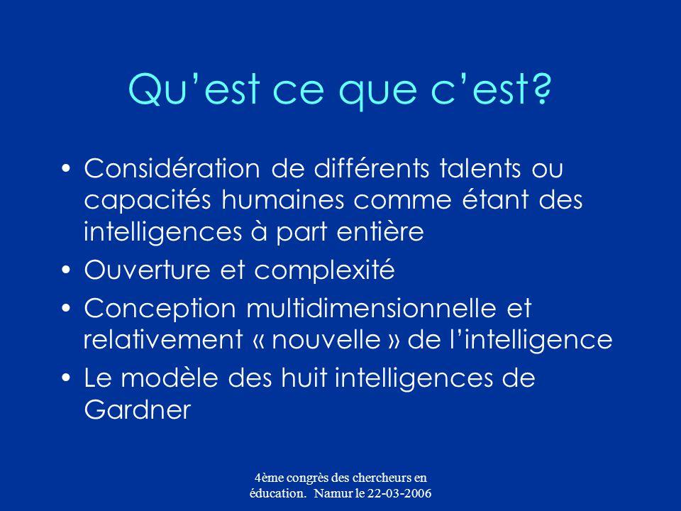 4ème congrès des chercheurs en éducation. Namur le 22-03-2006 Quest ce que cest? Considération de différents talents ou capacités humaines comme étant