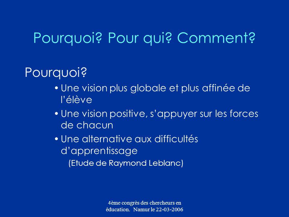 4ème congrès des chercheurs en éducation. Namur le 22-03-2006 Pourquoi? Pour qui? Comment? Pourquoi? Une vision plus globale et plus affinée de lélève