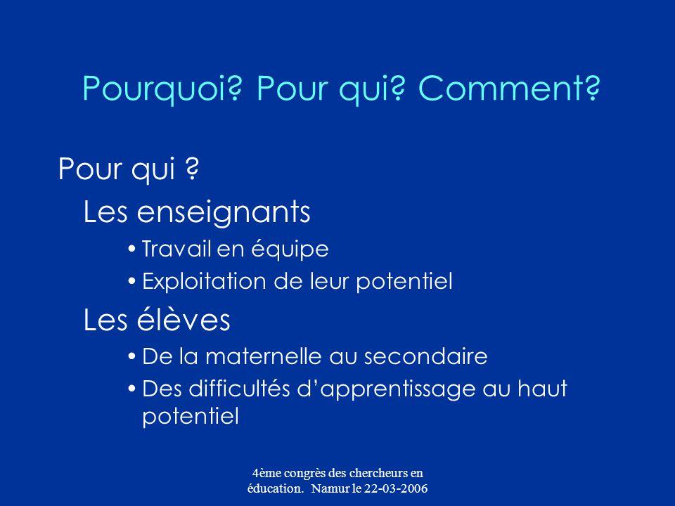 4ème congrès des chercheurs en éducation. Namur le 22-03-2006 Pourquoi? Pour qui? Comment? Pour qui ? Les enseignants Travail en équipe Exploitation d