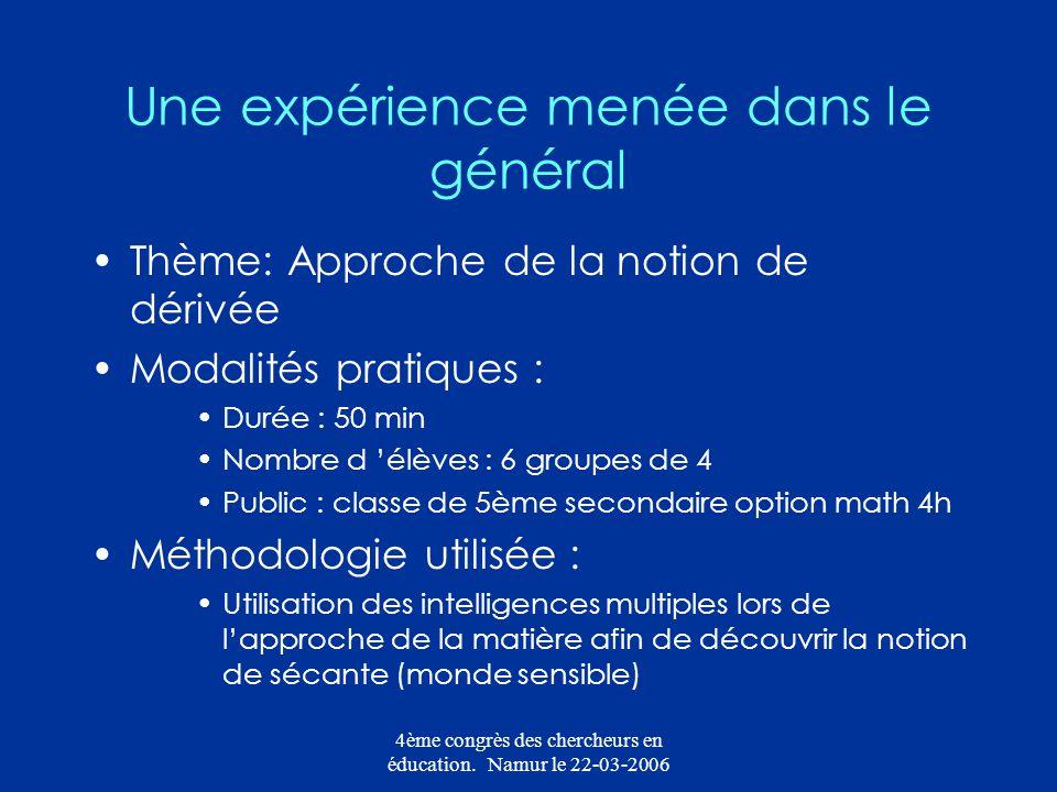 4ème congrès des chercheurs en éducation. Namur le 22-03-2006 Une expérience menée dans le général Thème: Approche de la notion de dérivée Modalités p