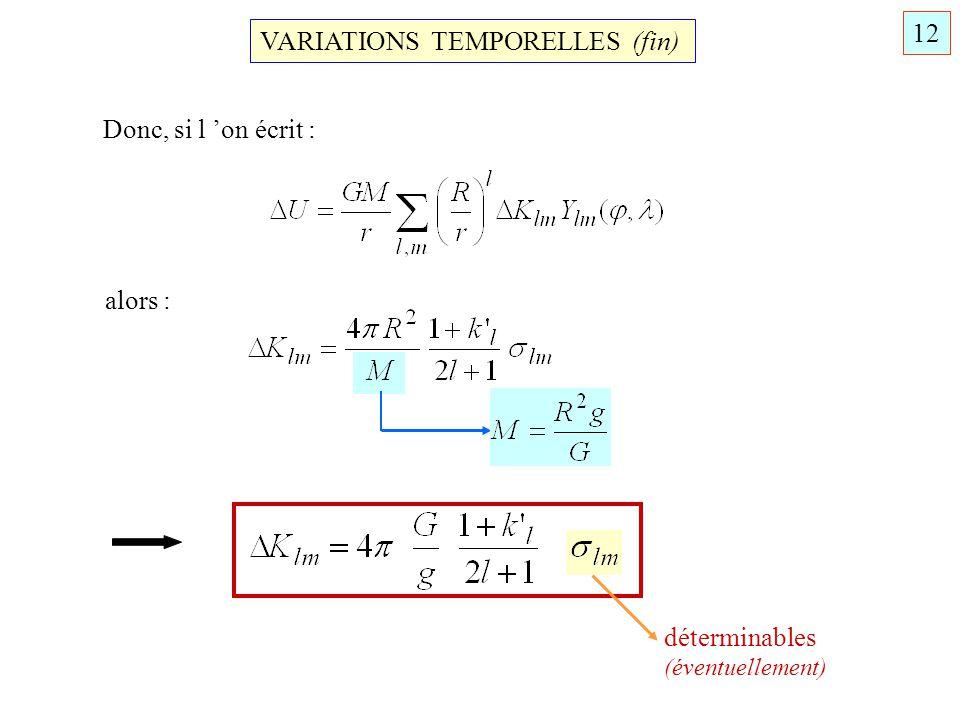 VARIATIONS TEMPORELLES (fin) Donc, si l on écrit : alors : déterminables (éventuellement) 12