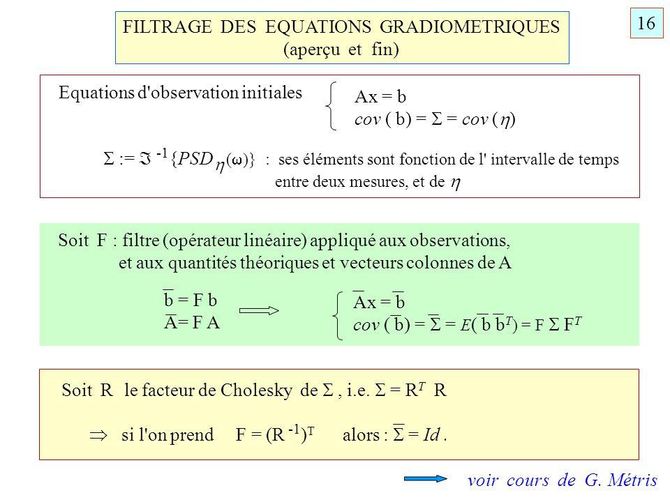FILTRAGE DES EQUATIONS GRADIOMETRIQUES (aperçu et fin) Equations d'observation initiales Ax = b cov ( b) = = cov ( ) 16 Soit F : filtre (opérateur lin