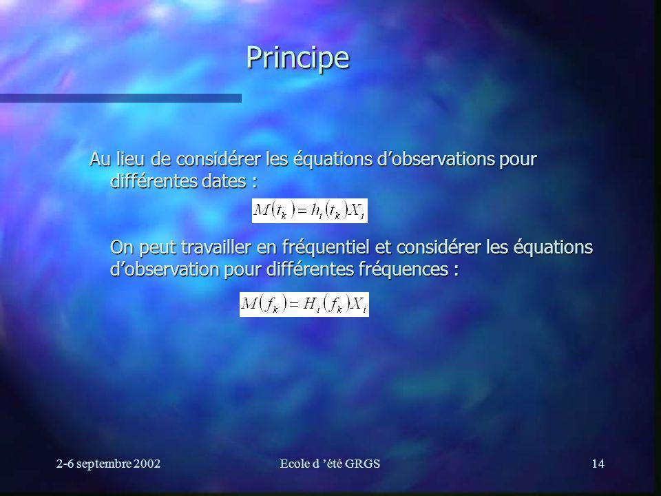 2-6 septembre 2002Ecole d été GRGS14 Principe Au lieu de considérer les équations dobservations pour différentes dates : On peut travailler en fréquentiel et considérer les équations dobservation pour différentes fréquences :