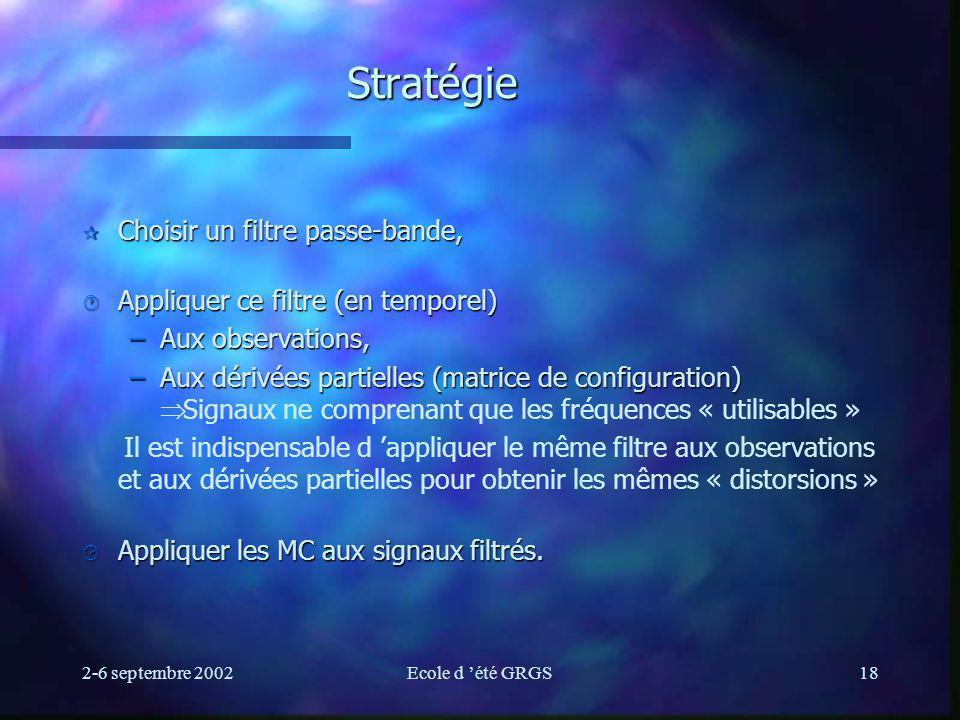 2-6 septembre 2002Ecole d été GRGS18 Stratégie ¶ Choisir un filtre passe-bande, · Appliquer ce filtre (en temporel) –Aux observations, –Aux dérivées p