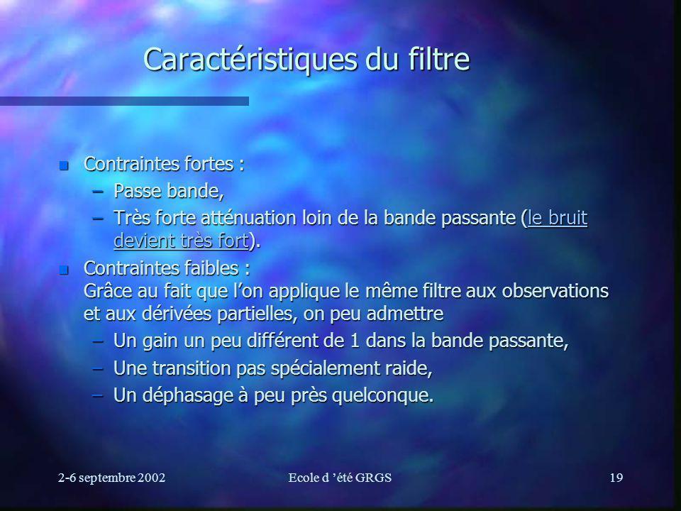 2-6 septembre 2002Ecole d été GRGS19 Caractéristiques du filtre n Contraintes fortes : –Passe bande, –Très forte atténuation loin de la bande passante