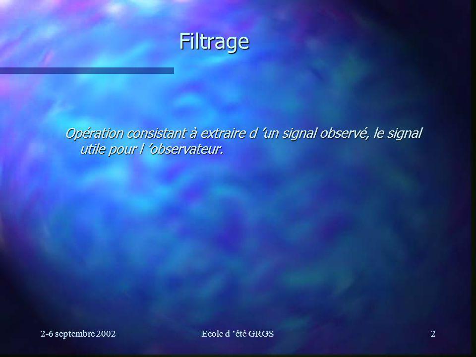 2-6 septembre 2002Ecole d été GRGS43 Aspects pratiques Choix du filtre : - fonctions de base : Butterworth, Tchebytcheff, elliptique...