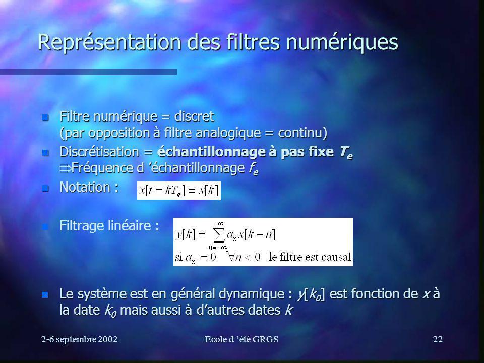 2-6 septembre 2002Ecole d été GRGS22 Représentation des filtres numériques n Filtre numérique = discret (par opposition à filtre analogique = continu) Discrétisation = échantillonnage à pas fixe T e Fréquence d échantillonnage f e Discrétisation = échantillonnage à pas fixe T e Fréquence d échantillonnage f e n Notation : n n Filtrage linéaire : n Le système est en général dynamique : y[k 0 ] est fonction de x à la date k 0 mais aussi à dautres dates k