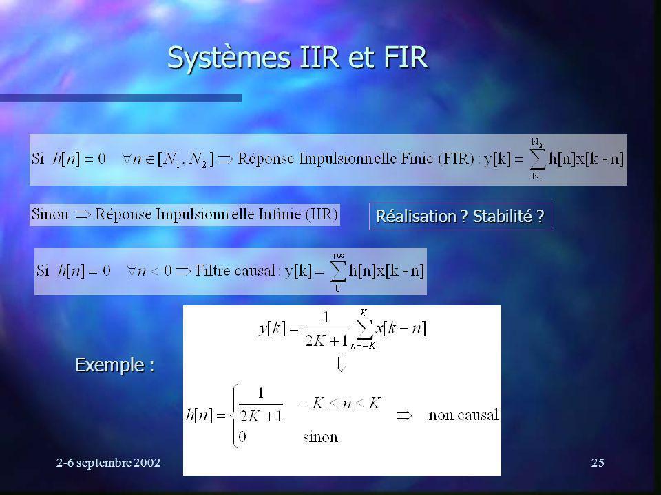 2-6 septembre 2002Ecole d été GRGS25 Systèmes IIR et FIR Exemple : Réalisation ? Stabilité ?