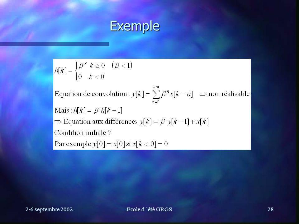 2-6 septembre 2002Ecole d été GRGS28 Exemple
