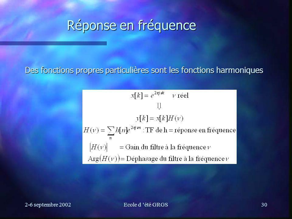 2-6 septembre 2002Ecole d été GRGS30 Réponse en fréquence Des fonctions propres particulières sont les fonctions harmoniques