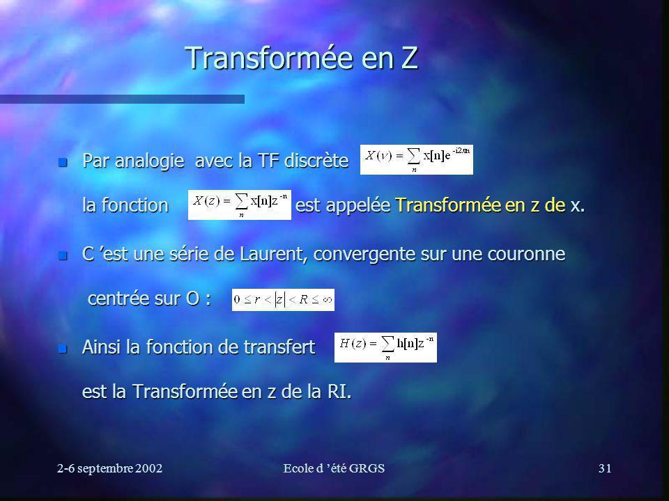 2-6 septembre 2002Ecole d été GRGS31 Transformée en Z n Par analogie avec la TF discrète la fonction est appelée Transformée en z de x. n C est une sé