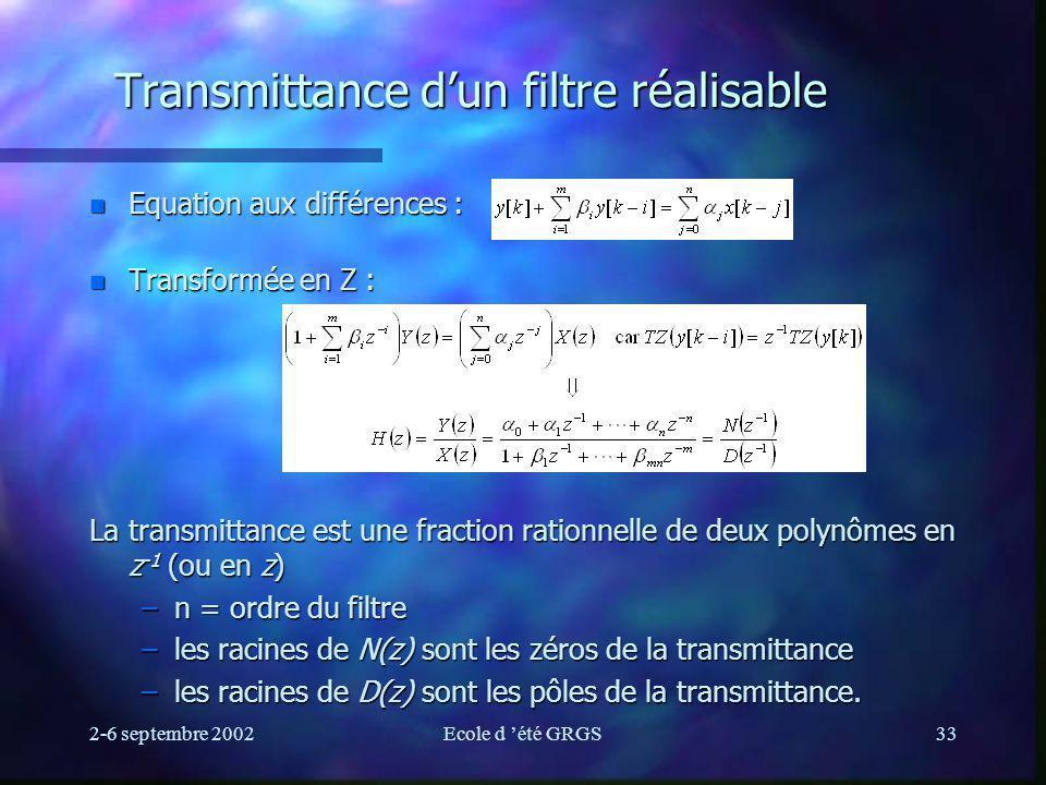 2-6 septembre 2002Ecole d été GRGS33 Transmittance dun filtre réalisable n Equation aux différences : n Transformée en Z : La transmittance est une fraction rationnelle de deux polynômes en z -1 (ou en z) –n = ordre du filtre –les racines de N(z) sont les zéros de la transmittance –les racines de D(z) sont les pôles de la transmittance.