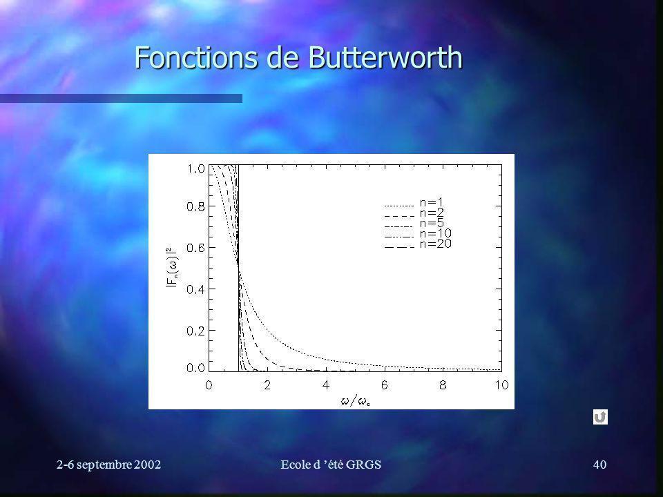 2-6 septembre 2002Ecole d été GRGS40 Fonctions de Butterworth