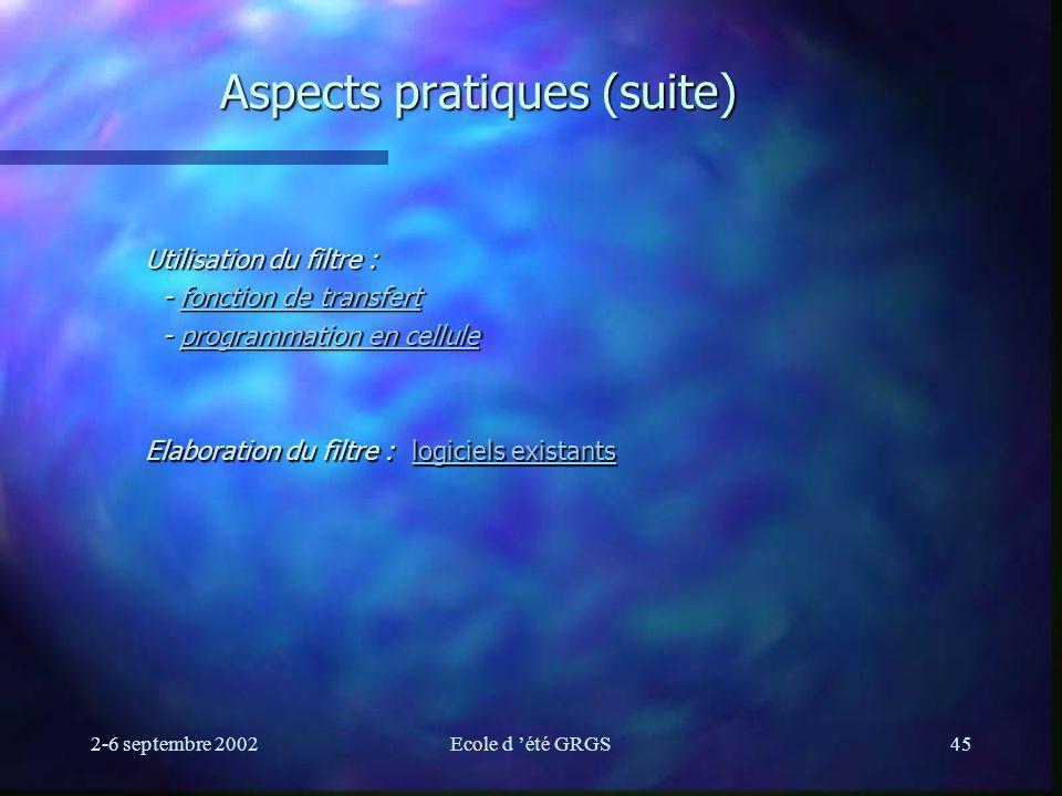 2-6 septembre 2002Ecole d été GRGS45 Aspects pratiques (suite) Utilisation du filtre : - fonction de transfert - fonction de transfertfonction de tran