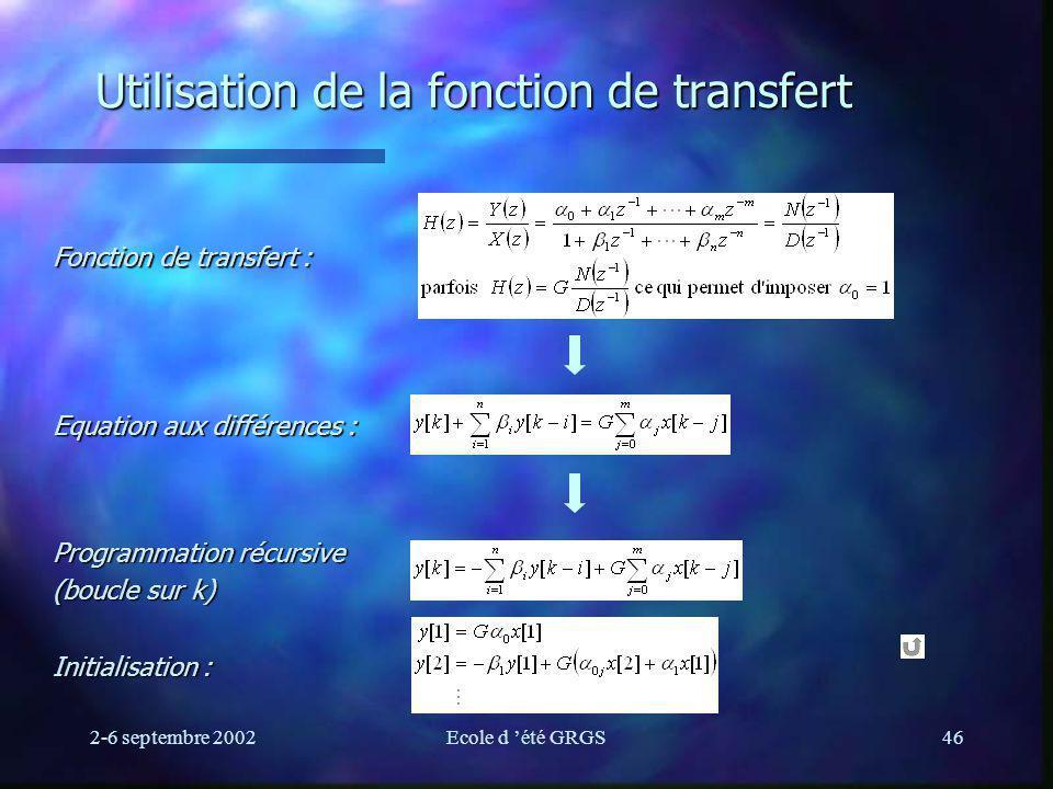 2-6 septembre 2002Ecole d été GRGS46 Utilisation de la fonction de transfert Fonction de transfert : Equation aux différences : Programmation récursive (boucle sur k) Initialisation :