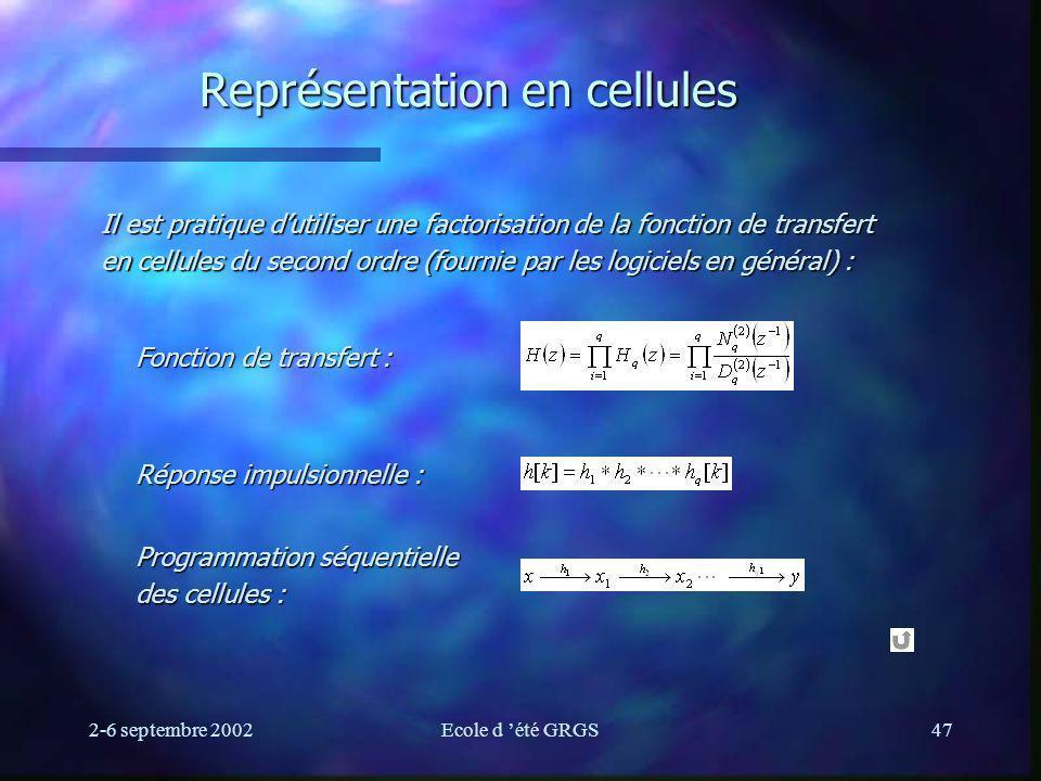2-6 septembre 2002Ecole d été GRGS47 Représentation en cellules Il est pratique dutiliser une factorisation de la fonction de transfert en cellules du