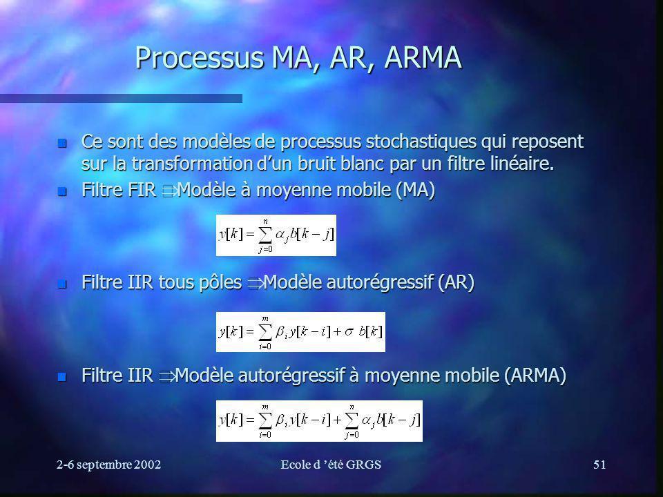 2-6 septembre 2002Ecole d été GRGS51 Processus MA, AR, ARMA n Ce sont des modèles de processus stochastiques qui reposent sur la transformation dun bruit blanc par un filtre linéaire.