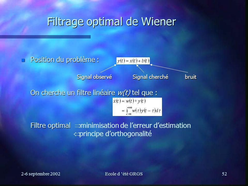 2-6 septembre 2002Ecole d été GRGS52 Filtrage optimal de Wiener Position du problème : On cherche un filtre linéaire w(t) tel que : Filtre optimal Position du problème : On cherche un filtre linéaire w(t) tel que : Filtre optimal minimisation de lerreur destimation principe dorthogonalité Signal observé Signal cherché bruit