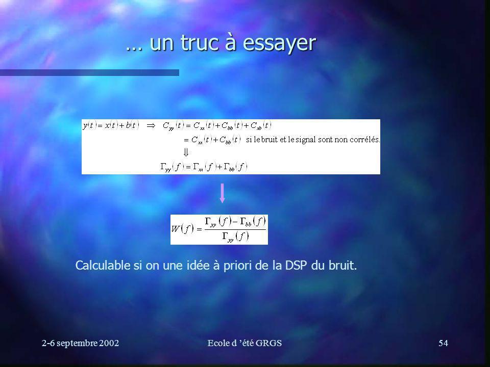 2-6 septembre 2002Ecole d été GRGS54 … un truc à essayer Calculable si on une idée à priori de la DSP du bruit.