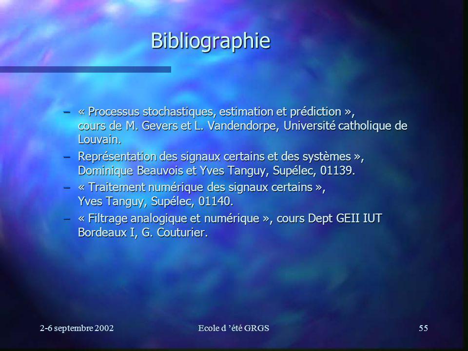 2-6 septembre 2002Ecole d été GRGS55 Bibliographie –« Processus stochastiques, estimation et prédiction », cours de M. Gevers et L. Vandendorpe, Unive