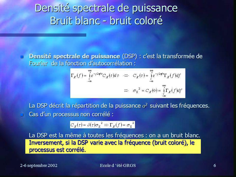2-6 septembre 2002Ecole d été GRGS6 Densité spectrale de puissance Bruit blanc - bruit coloré Densité spectrale de puissance (DSP) : cest la transformée de Fourier de la fonction dautocorrélation : La DSP décrit la répartition de la puissance 2 suivant les fréquences.