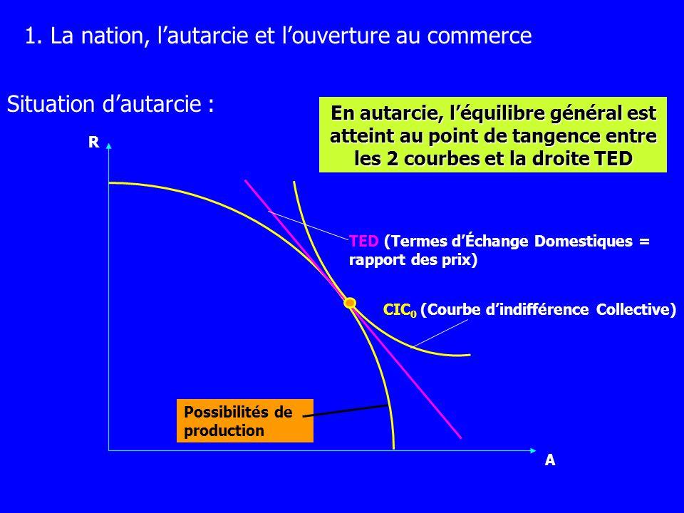 R A CIC 0 TED TEI (Termes d Échange Inter.) Vu le changement des prix relatifs, léconomie produit plus de R CIC 1 Ouverture au commerce :