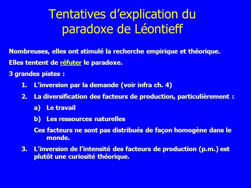 Tentatives dexplication du paradoxe de Léontieff Nombreuses, elles ont stimulé la recherche empirique et théorique. Elles tentent de réfuter le parado
