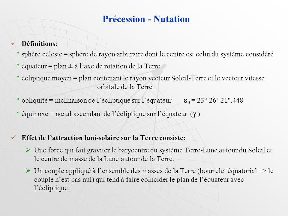 Précession - Nutation Définitions: * sphère céleste = sphère de rayon arbitraire dont le centre est celui du système considéré * équateur = plan à laxe de rotation de la Terre * écliptique moyen = plan contenant le rayon vecteur Soleil-Terre et le vecteur vitesse orbitale de la Terre * obliquité = inclinaison de lécliptique sur léquateur 0 = 23° 26 21 .448 * équinoxe = nœud ascendant de lécliptique sur léquateur ( ) Effet de lattraction luni-solaire sur la Terre consiste: Une force qui fait graviter le barycentre du système Terre-Lune autour du Soleil et le centre de masse de la Lune autour de la Terre.