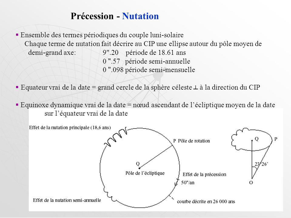 Précession - Nutation Ensemble des termes périodiques du couple luni-solaire Chaque terme de nutation fait décrire au CIP une ellipse autour du pôle moyen de demi-grand axe: 9 .20 période de 18.61 ans 0 .57 période semi-annuelle 0 .098 période semi-mensuelle Equateur vrai de la date = grand cercle de la sphère céleste à la direction du CIP Equinoxe dynamique vrai de la date = nœud ascendant de lécliptique moyen de la date sur léquateur vrai de la date