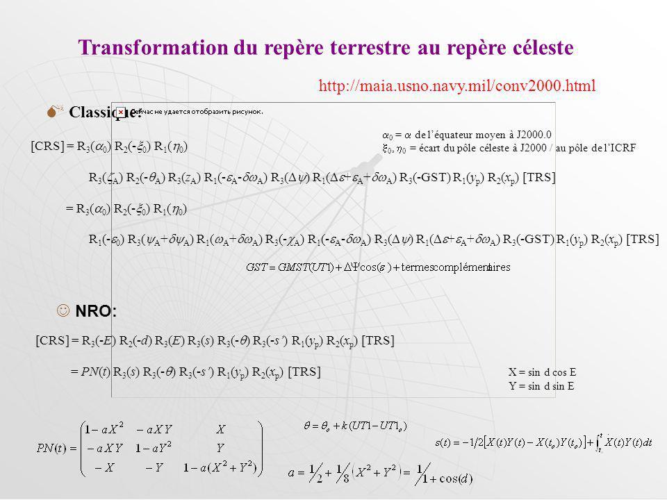Transformation du repère terrestre au repère céleste Classique: NRO: http://maia.usno.navy.mil/conv2000.html [CRS] = R 3 ( 0 ) R 2 (- 0 ) R 1 ( 0 ) R 3 ( A ) R 2 (- A ) R 3 (z A ) R 1 (- A - A ) R 3 ( ) R 1 ( + A + A ) R 3 (-GST) R 1 (y p ) R 2 (x p ) [TRS] = R 3 ( 0 ) R 2 (- 0 ) R 1 ( 0 ) R 1 (- 0 ) R 3 ( A + A ) R 1 ( A + A ) R 3 (- A ) R 1 (- A - A ) R 3 ( ) R 1 ( + A + A ) R 3 (-GST) R 1 (y p ) R 2 (x p ) [TRS] [CRS] = R 3 (-E) R 2 (-d) R 3 (E) R 3 (s) R 3 (- ) R 3 (-s) R 1 (y p ) R 2 (x p ) [TRS] = PN(t) R 3 (s) R 3 (- ) R 3 (-s) R 1 (y p ) R 2 (x p ) [TRS] 0 = de léquateur moyen à J2000.0 0, 0 = écart du pôle céleste à J2000 / au pôle de lICRF X = sin d cos E Y = sin d sin E