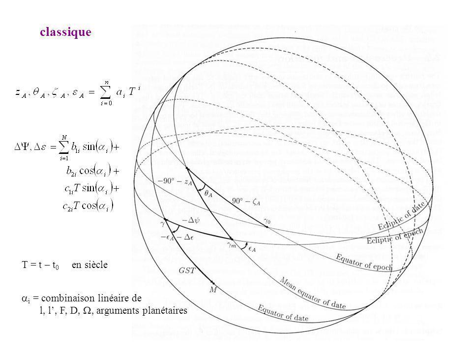 classique i = combinaison linéaire de l, l, F, D,, arguments planétaires T = t – t 0 en siècle