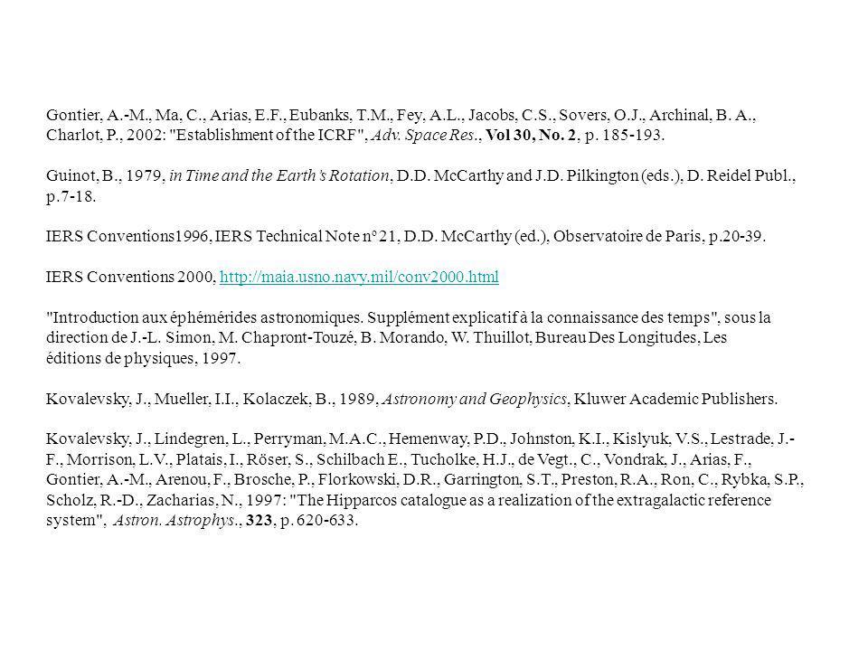 Gontier, A.-M., Ma, C., Arias, E.F., Eubanks, T.M., Fey, A.L., Jacobs, C.S., Sovers, O.J., Archinal, B. A., Charlot, P., 2002: