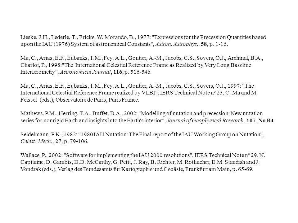 Lieske, J.H., Lederle, T., Fricke, W. Morando, B., 1977: