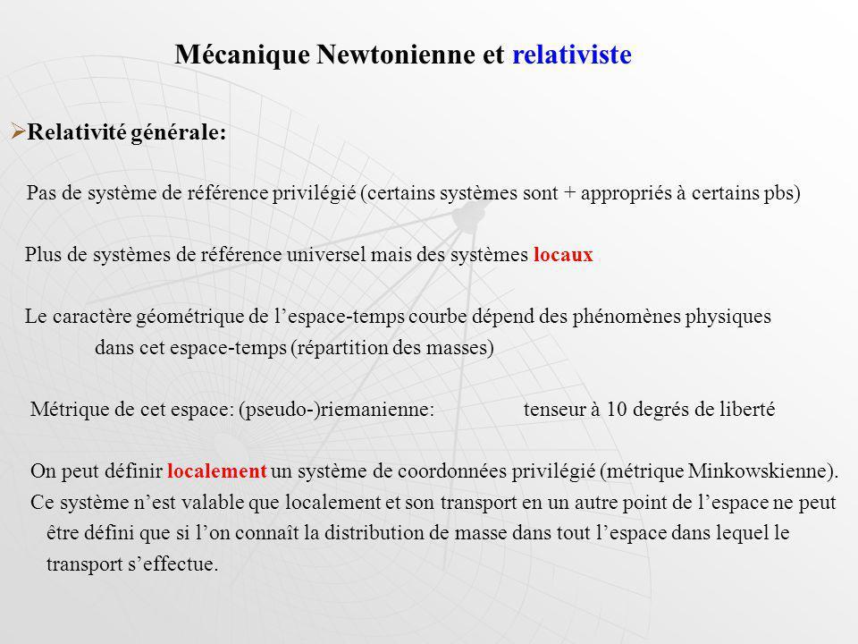 Relativité générale: Pas de système de référence privilégié (certains systèmes sont + appropriés à certains pbs) Plus de systèmes de référence univers