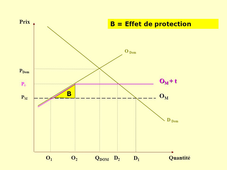 Prix Quantité D Dom PMPM Q DOM OMOMOMOM P Dom O Dom B = Effet de protection D1D1 O1O1 PtPt O M + t B O2O2 D2D2