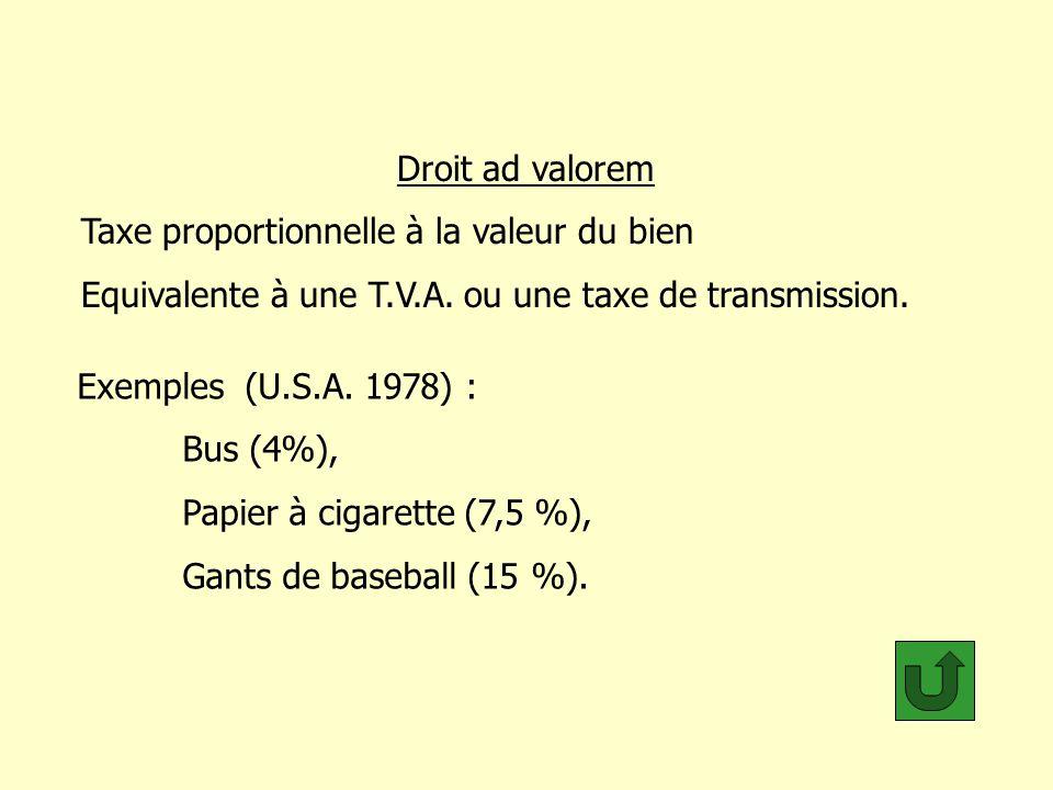 Droit ad valorem Taxe proportionnelle à la valeur du bien Equivalente à une T.V.A. ou une taxe de transmission. Exemples (U.S.A. 1978) : Bus (4%), Pap