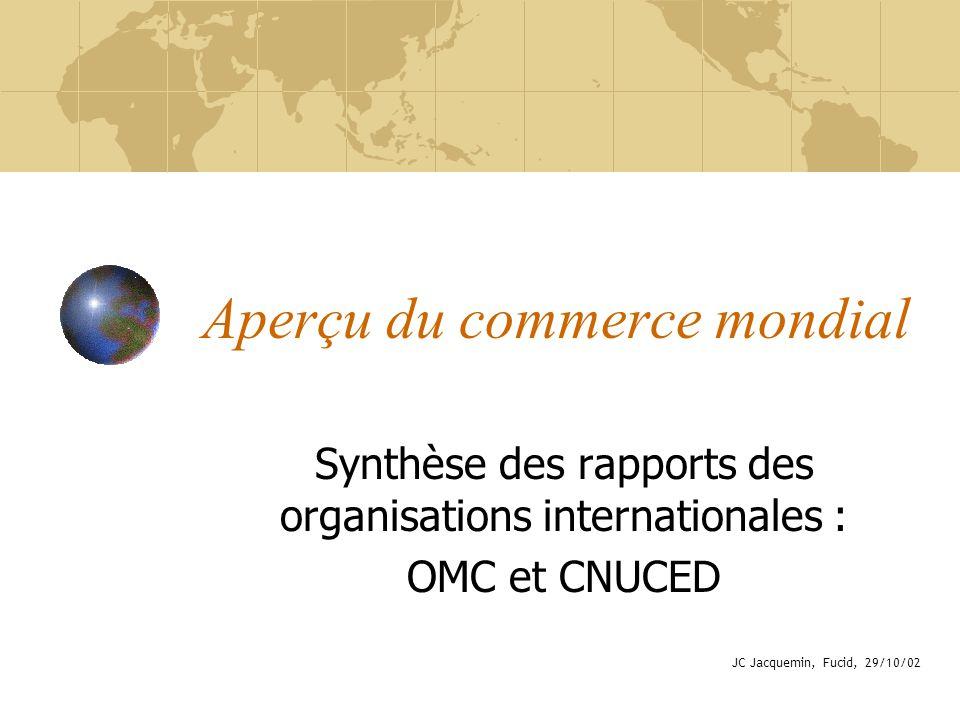 Aperçu du commerce mondial Synthèse des rapports des organisations internationales : OMC et CNUCED JC Jacquemin, Fucid, 29/10/02