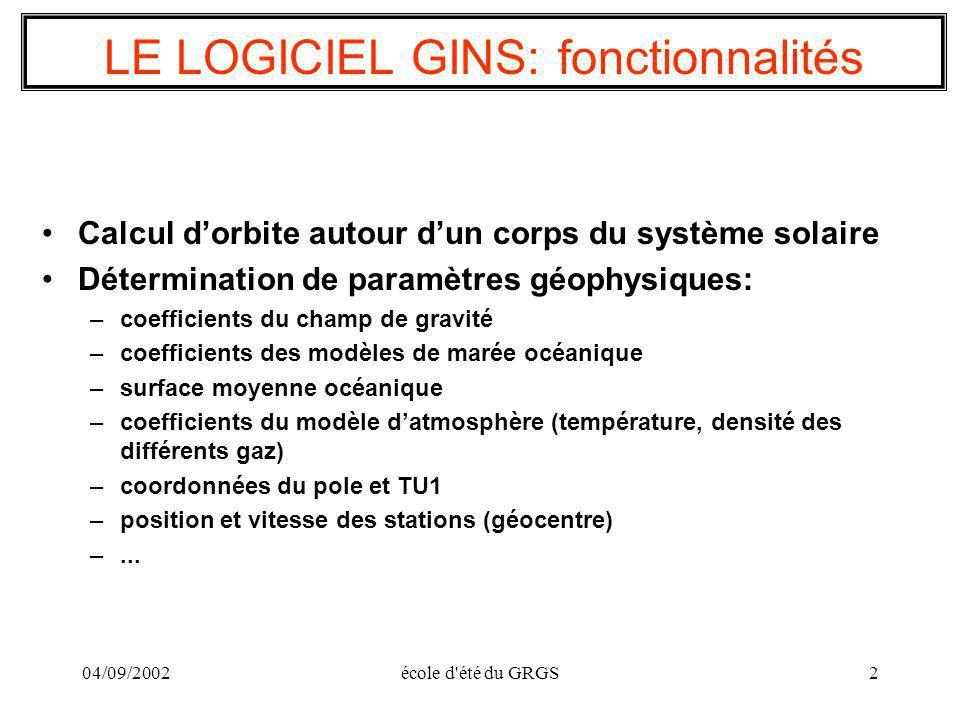04/09/2002école d'été du GRGS2 LE LOGICIEL GINS: fonctionnalités Calcul dorbite autour dun corps du système solaire Détermination de paramètres géophy