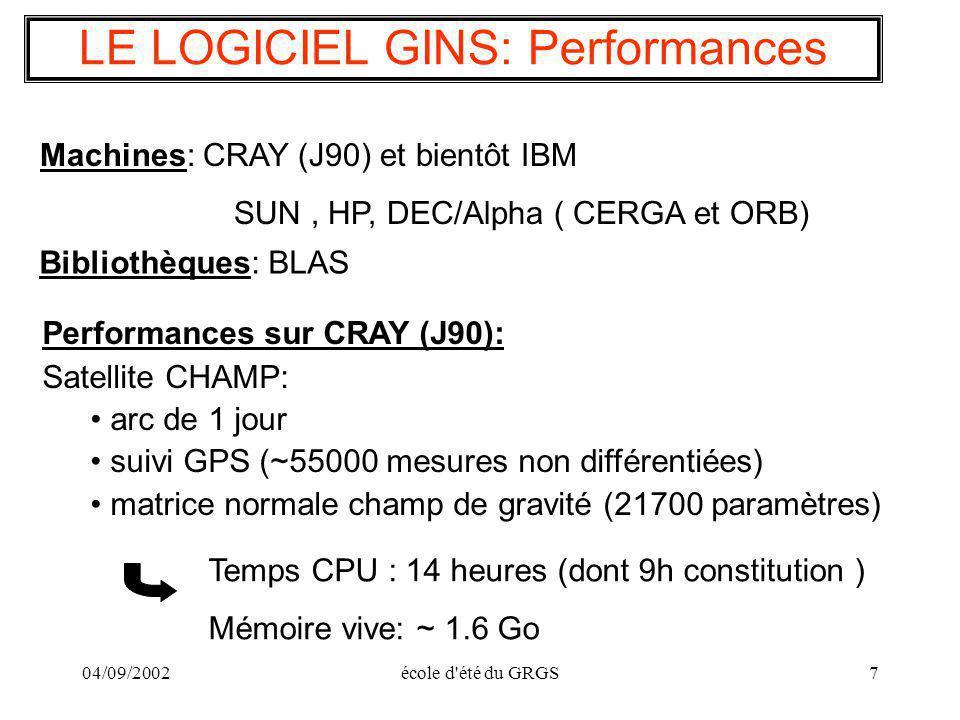 04/09/2002école d'été du GRGS7 LE LOGICIEL GINS: Performances Machines: CRAY (J90) et bientôt IBM SUN, HP, DEC/Alpha ( CERGA et ORB) Performances sur