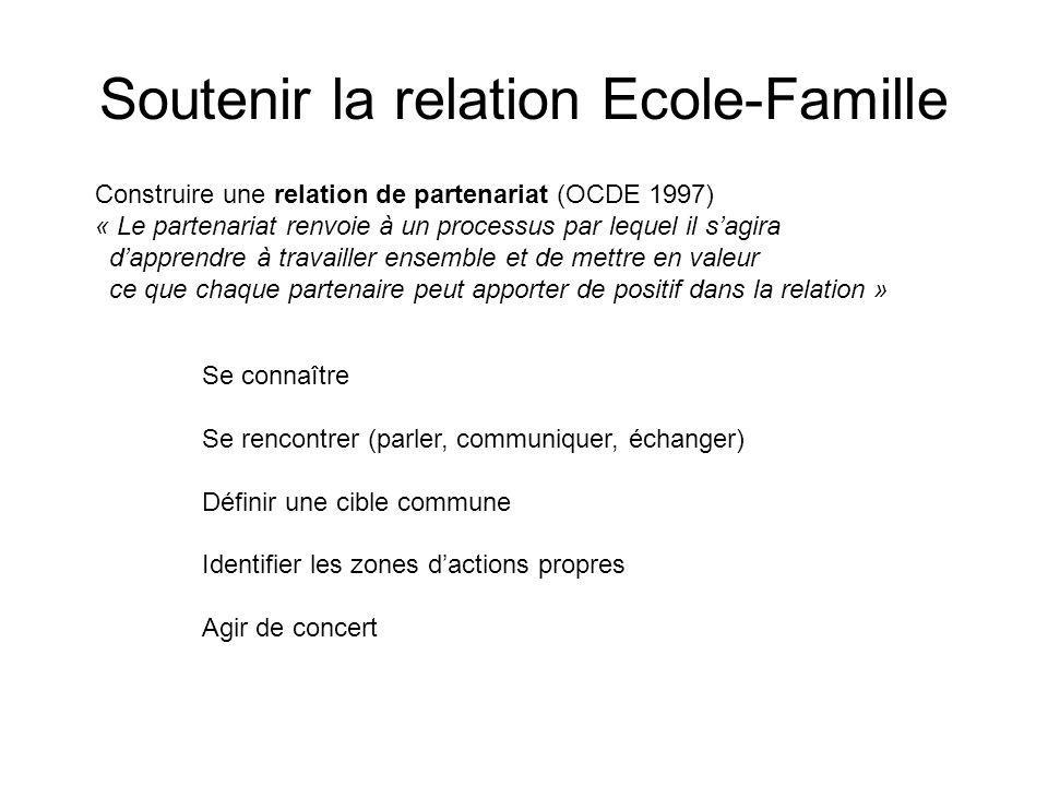 Soutenir la relation Ecole-Famille Construire une relation de partenariat (OCDE 1997) « Le partenariat renvoie à un processus par lequel il sagira dap