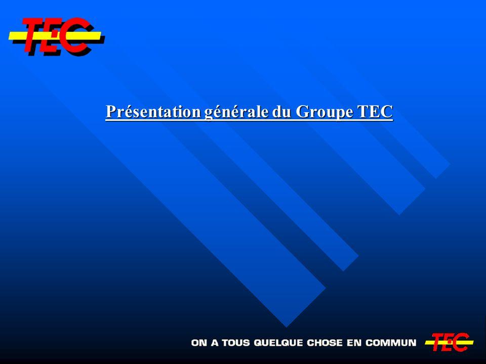 Le groupe TEC : une histoire jeune Le groupe TEC : une histoire jeune Créé en 1991 régionalisation des transports en commun régionalisation des transports en commun secondaires secondaires Issu de : - SNCV (partie wallonne) - SNCV (partie wallonne) - STIL (Liège) - STIL (Liège) - STIV (Verviers) - STIV (Verviers) - STIC (Charleroi) - STIC (Charleroi) Structure pyramidale de 6 sociétés
